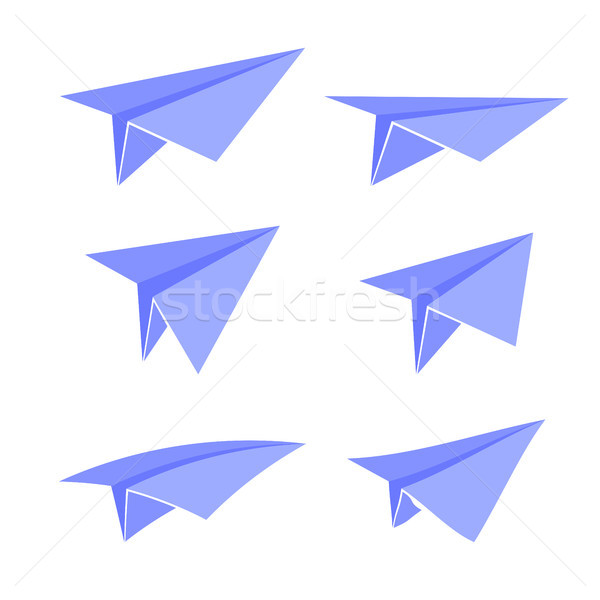 синий бумаги плоскости набор изолированный белый Сток-фото © Valeo5
