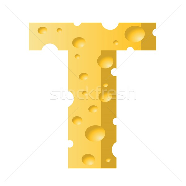Stock photo: cheese letter T