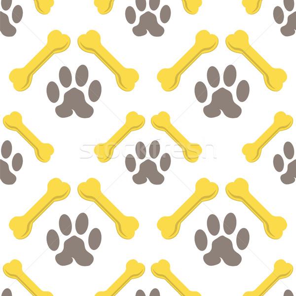 Sem costura ossos cão padrão conjunto amarelo Foto stock © Valeo5