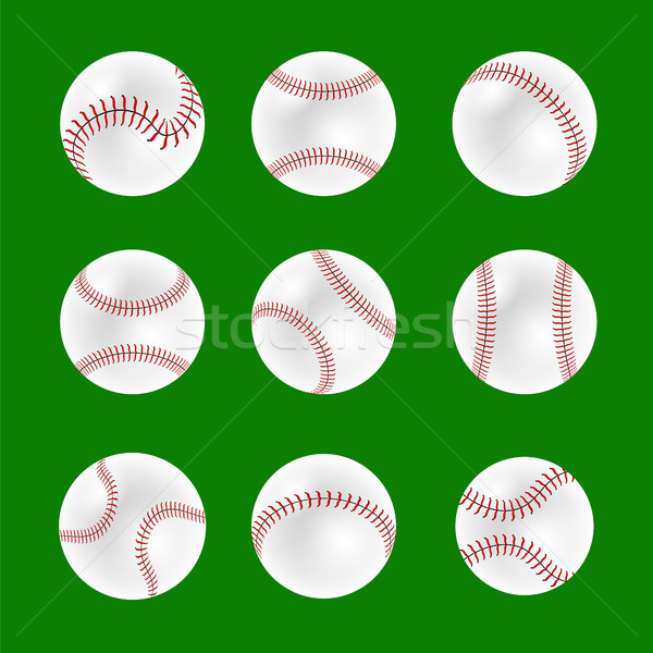Ayarlamak beysbol yalıtılmış yeşil arka plan Stok fotoğraf © Valeo5