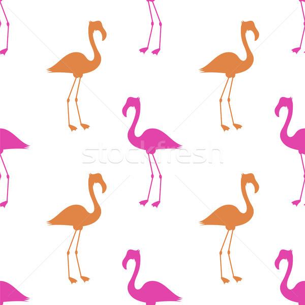 Roze flamingo witte vogel silhouet Stockfoto © Valeo5