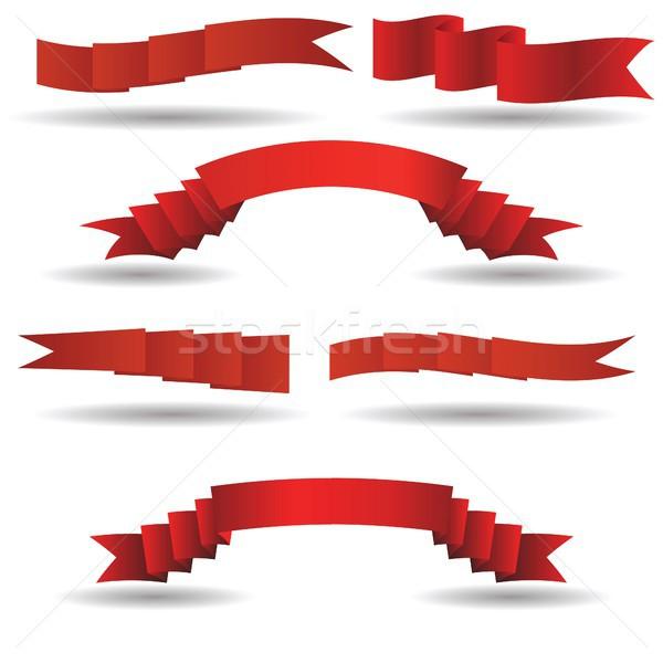 набор красный Баннеры красочный иллюстрация дизайна Сток-фото © Valeo5