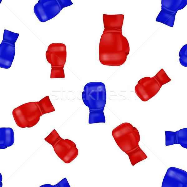 красный синий боксерские перчатки изолированный белый Сток-фото © Valeo5