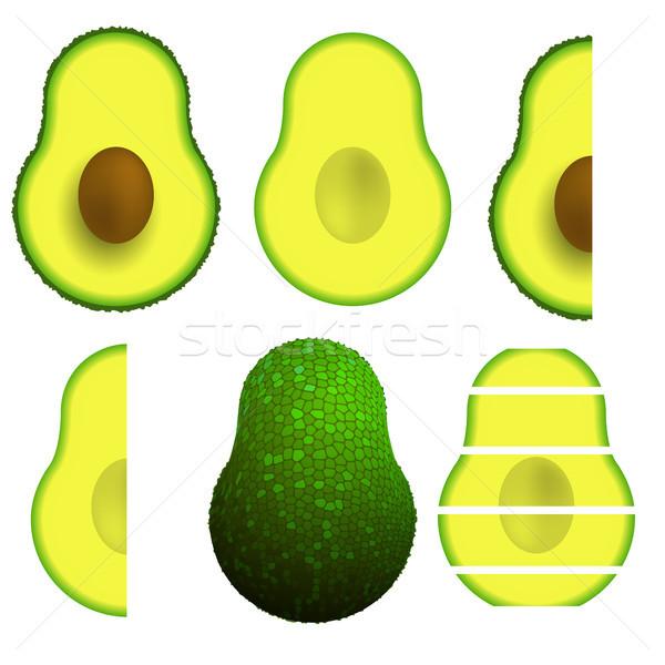 зеленый зрелый авокадо фрукты изолированный белый Сток-фото © Valeo5