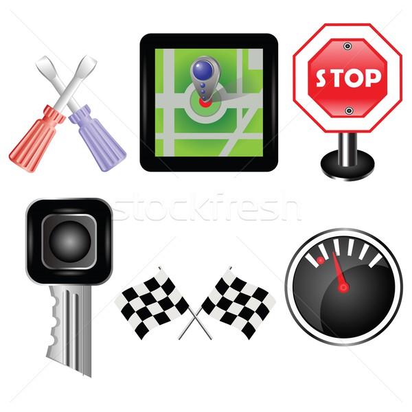 автомобилей иконки красочный иллюстрация дизайна технологий Сток-фото © Valeo5