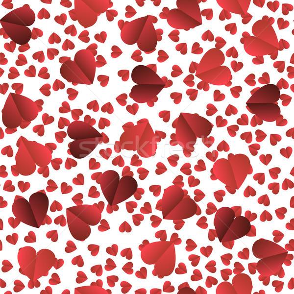 Romantik kırmızı kalp beyaz doku Stok fotoğraf © Valeo5