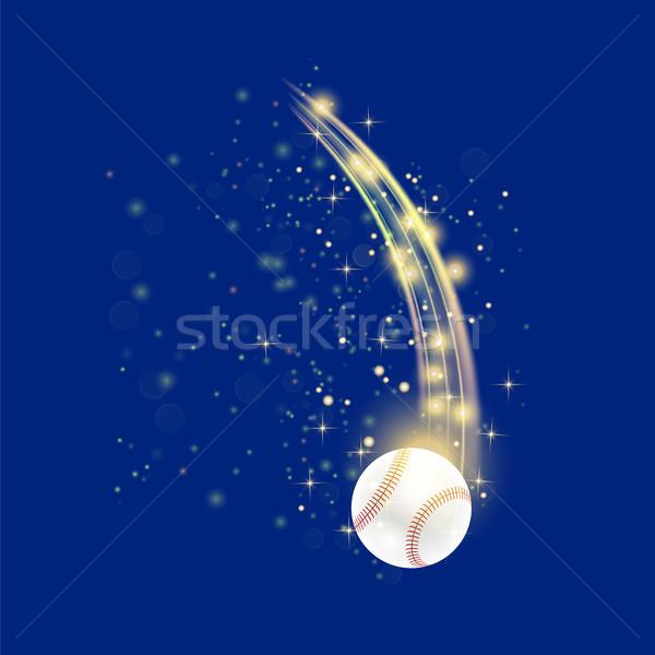 Vliegen baseball bal Geel geïsoleerd Blauw Stockfoto © Valeo5