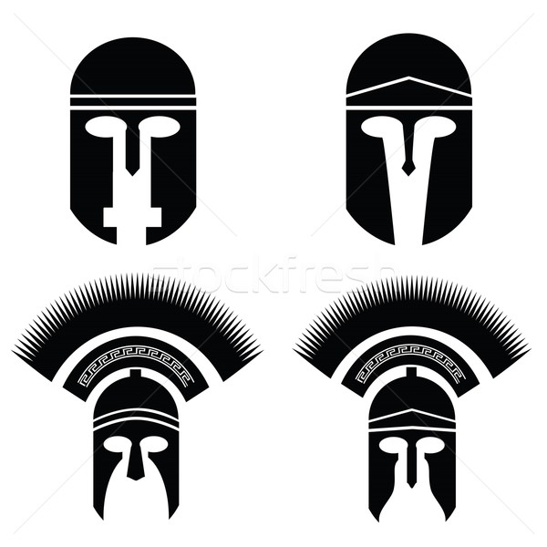 Silhouetten helm illustratie Grieks Romeinse witte Stockfoto © Valeo5