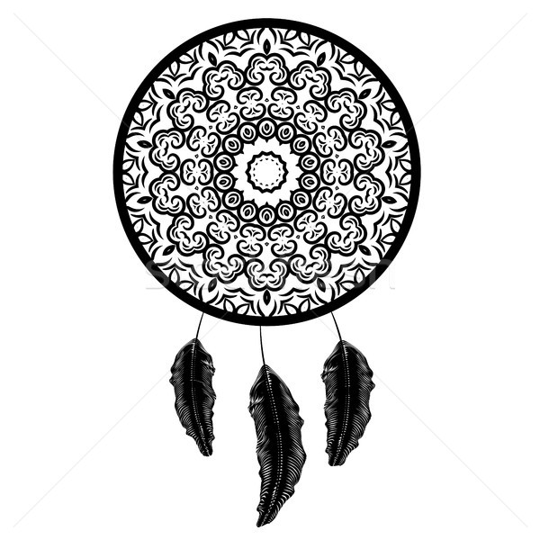 Dream Catcher Silhouette with Feathers Stock photo © Valeo5
