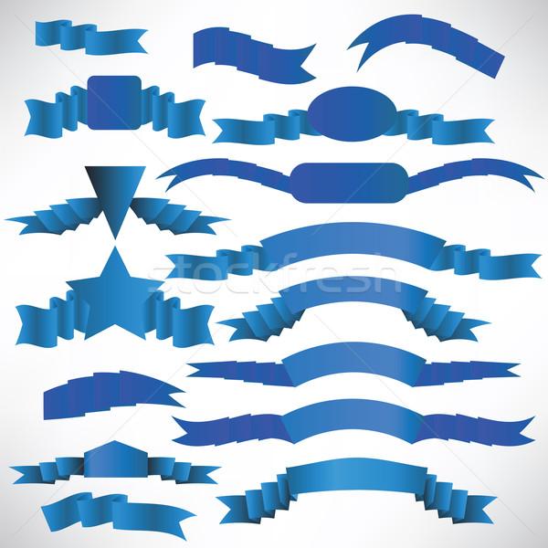 Blauw streep ingesteld ontwerp decoratie Stockfoto © Valeo5