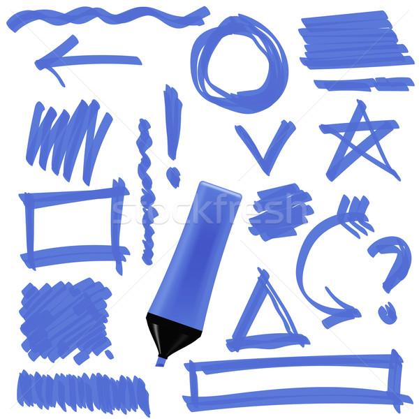Stok fotoğraf: Mavi · işaretleyici · ayarlamak · grafik · işaretleri · oklar