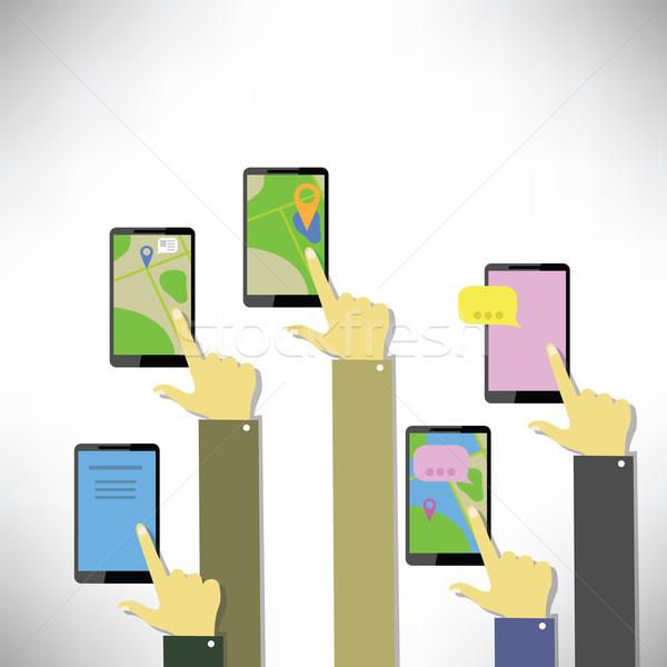 Handen aanraken knoppen kleurrijk illustratie witte Stockfoto © Valeo5