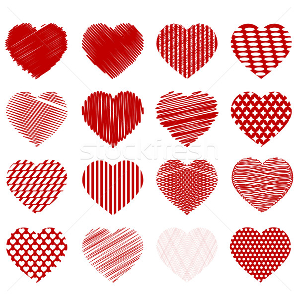 набор красный сердцах изолированный белый любви Сток-фото © Valeo5