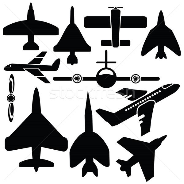 Silhouetten vliegtuig illustratie iconen witte ontwerp Stockfoto © Valeo5