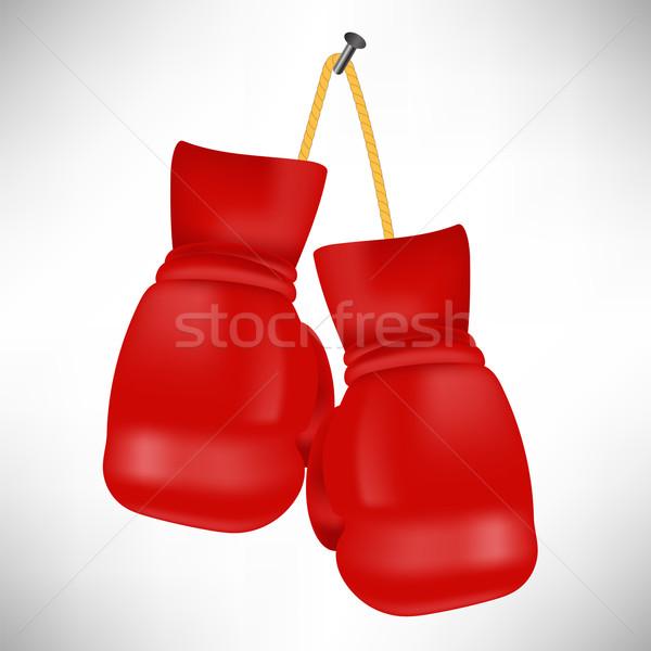 красный боксерские перчатки изолированный белый дизайна весело Сток-фото © Valeo5