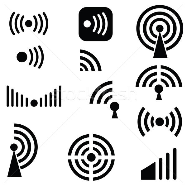 Radio golven illustratie silhouetten witte netwerk Stockfoto © Valeo5