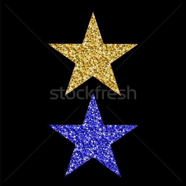 золото синий блеск звездой изолированный черный Сток-фото © Valeo5