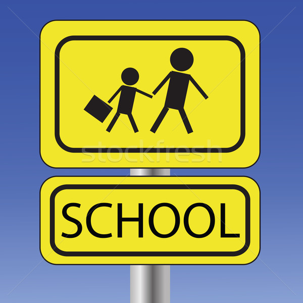 желтый школы знак красочный иллюстрация Blue Sky Сток-фото © Valeo5