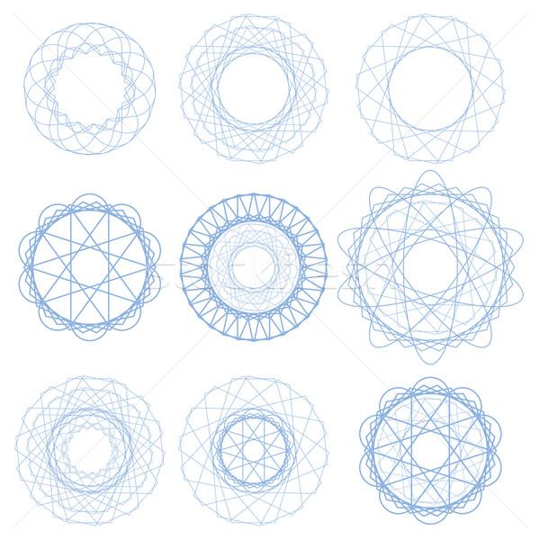 Ingesteld Blauw cirkel ornamenten geïsoleerd witte Stockfoto © Valeo5