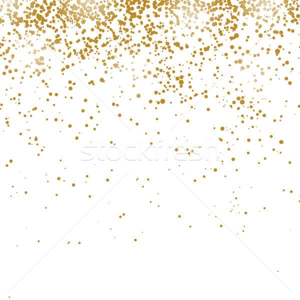 Goud confetti patroon geïsoleerd witte ontwerp Stockfoto © Valeo5