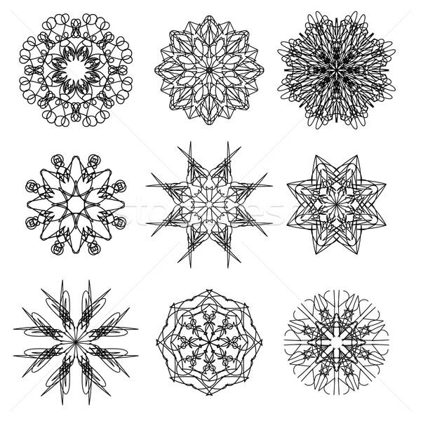 Padrão geométrico silhuetas neve flor Foto stock © Valeo5