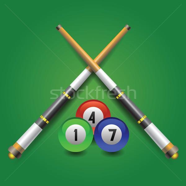Biljart icon kleurrijk illustratie groene hout Stockfoto © Valeo5