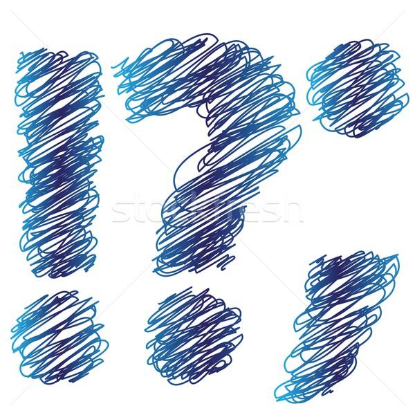 Ponto de interrogação colorido ilustração branco textura caneta Foto stock © Valeo5