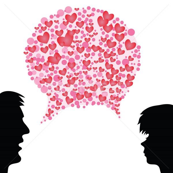 сердце речи пузырь красочный иллюстрация любви свет Сток-фото © Valeo5