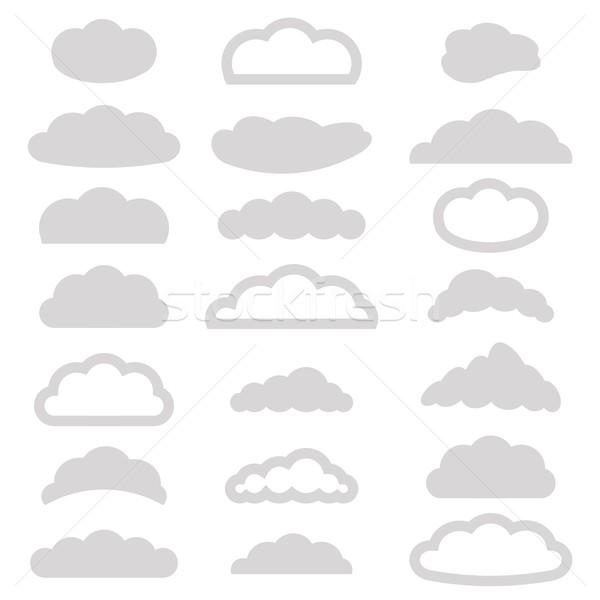 Ingesteld wolken iconen illustratie witte water Stockfoto © Valeo5