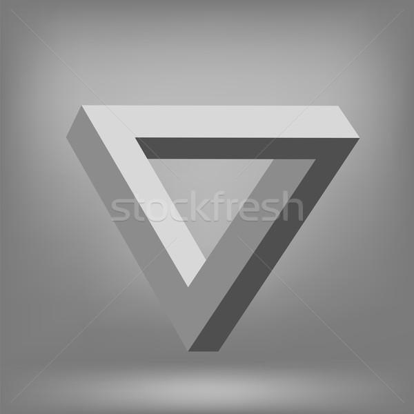 треугольник изолированный серый невозможное иллюзия дизайна Сток-фото © Valeo5