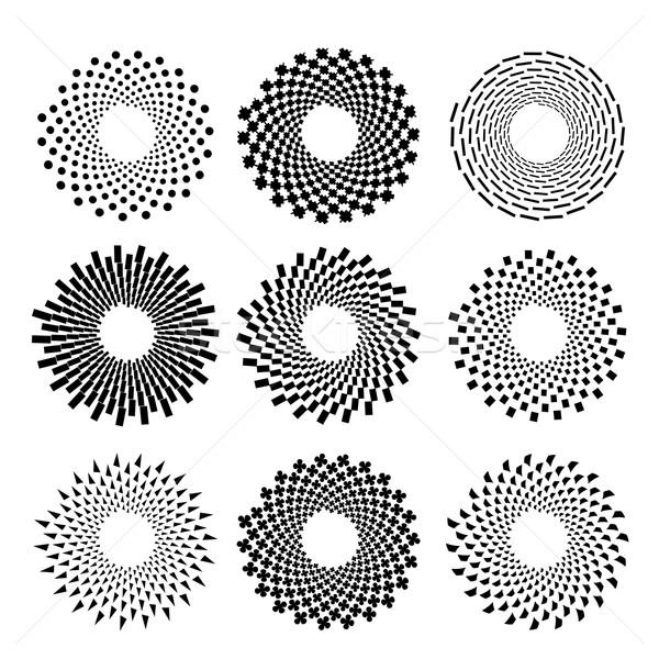 Círculo símbolos conjunto isolado branco abstrato Foto stock © Valeo5