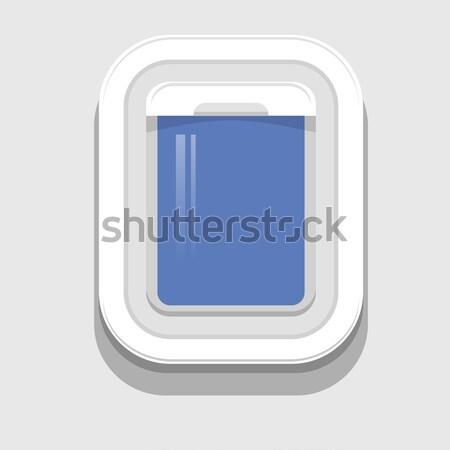 Plastic Open vliegtuig venster grijs ontwerp Stockfoto © Valeo5