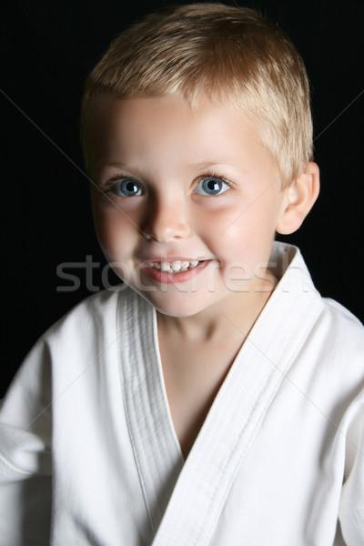 Karate çocuk sarışın erkek üniforma Stok fotoğraf © vanessavr