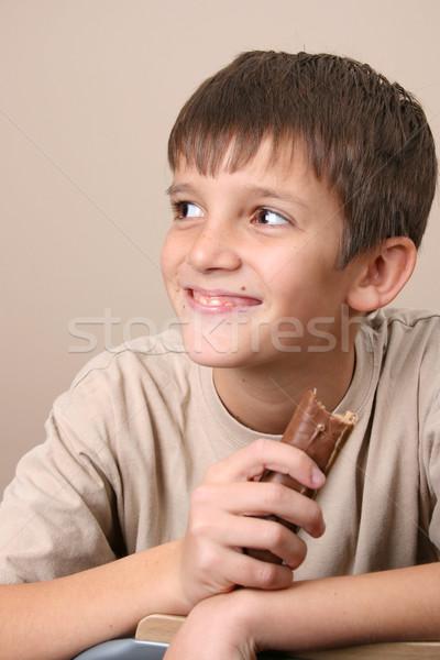 Chocolade kinderen grote ogen eten Stockfoto © vanessavr