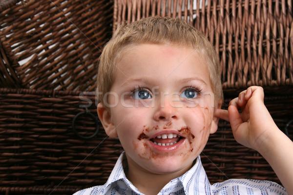 мальчика красивой грязные рот Сток-фото © vanessavr