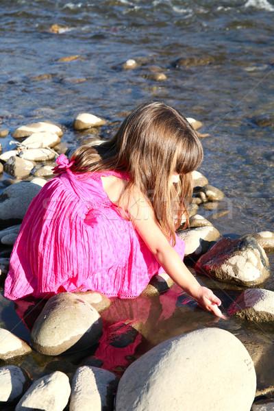 Szabadtér lány kislány játszik sekély folyam Stock fotó © vanessavr