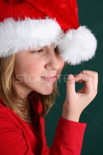 Christmas nuda nastolatek czerwony shirt puszysty Zdjęcia stock © vanessavr