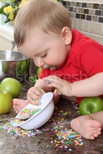 кухне ребенка мальчика играет грязный борьбе Сток-фото © vanessavr