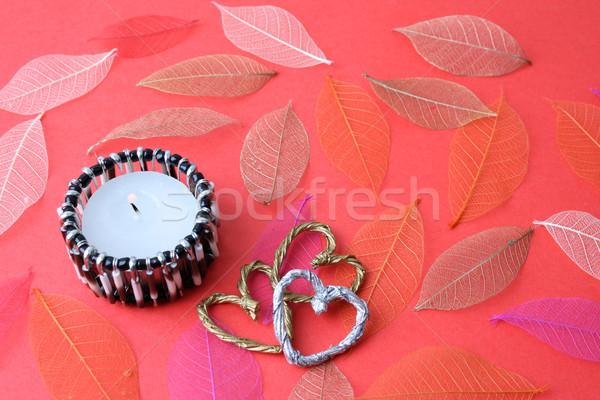 Kaars etnische kandelaar harten achtergrond Stockfoto © vanessavr