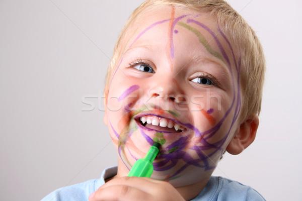 Amuzant dezordine râs copil joc colorat Imagine de stoc © vanessavr