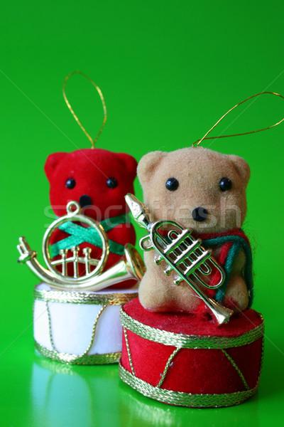 Bruine beer christmas decoraties groene Rood Stockfoto © vanessavr