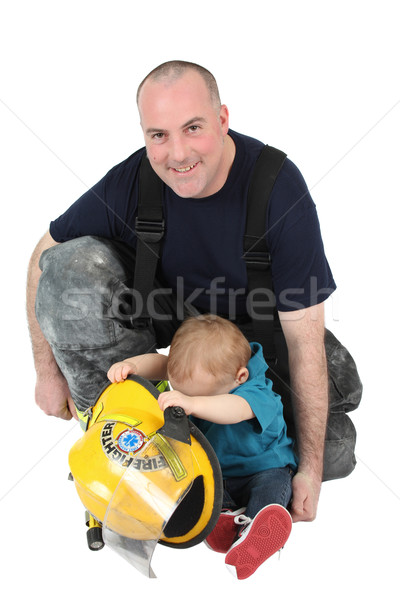 пожарный папу отец сын глядя Сток-фото © vanessavr