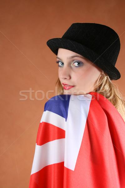 Union jack mooie jonge vrouwelijke model gezicht Stockfoto © vanessavr