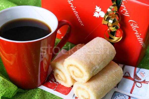 Рождества день кофе утра подарок зеленый Сток-фото © vanessavr