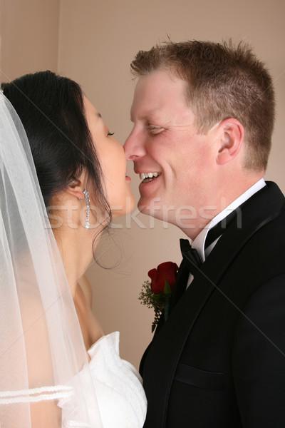 Stock fotó: Menyasszonyi · pár · arcok · zárt · együtt · esküvő