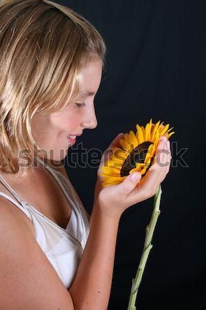 подсолнечника женщины модель черный девушки Сток-фото © vanessavr