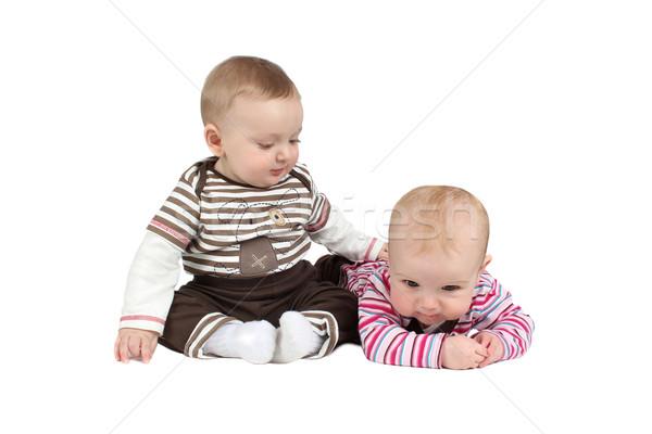 赤ちゃん 赤ちゃん 少年 少女 着用 縞模様の ストックフォト © vanessavr