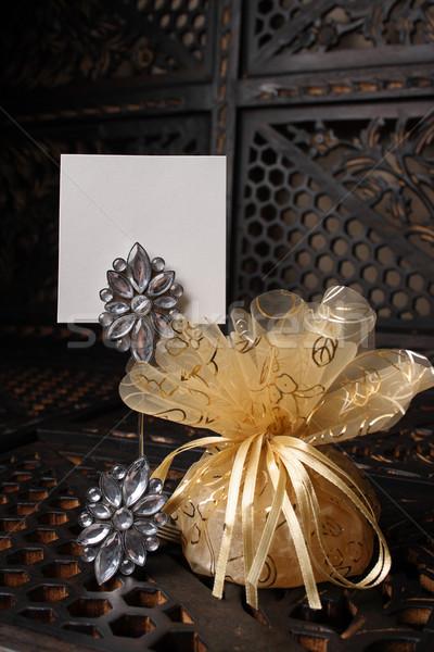 Arany kristályos esküvő hely név üres kártya Stock fotó © vanessavr