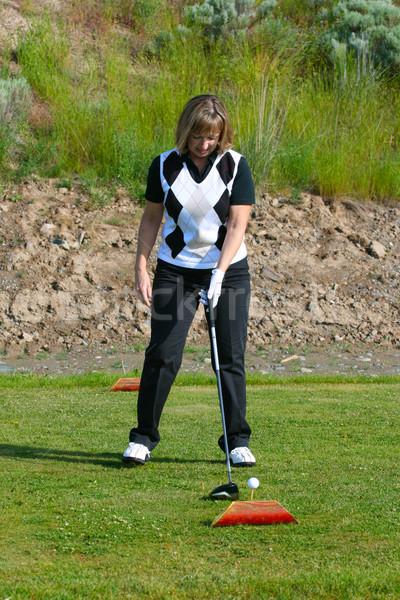 женщины гольфист гольф природы зеленый Сток-фото © vanessavr