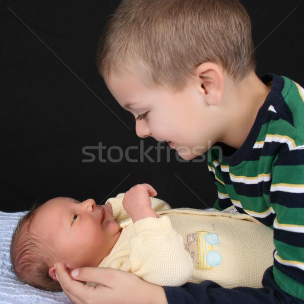 Fiútestvérek szőke fiú újszülött baba fivér Stock fotó © vanessavr